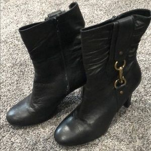 Coach black leather boots size 8 1/2 with heel